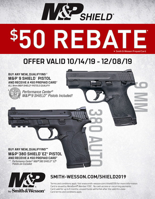 Smith and Wesson $50 Rebate on 9mm Shields and 380 Shield EZ's